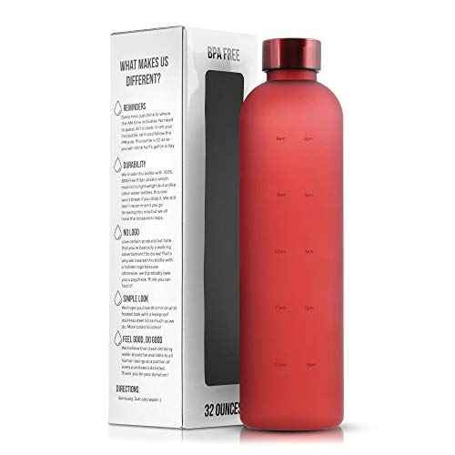 Motivational Water Bottle with Time Marker Reminder, BPA Free Frosted Tritan Plastic, Leakproof and Drop Resistant, 1 Liter 32 Oz (Red)