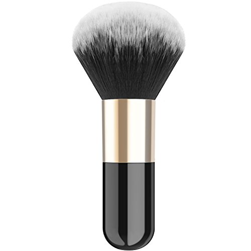 Luxspire Professional Makeup Brush Flat Kabuki Brush, Single Handle Large Round Head Soft Face Mineral Powder Foundation Brush Blush Brush Cosmetics Make Up Tool, Black & Gold -