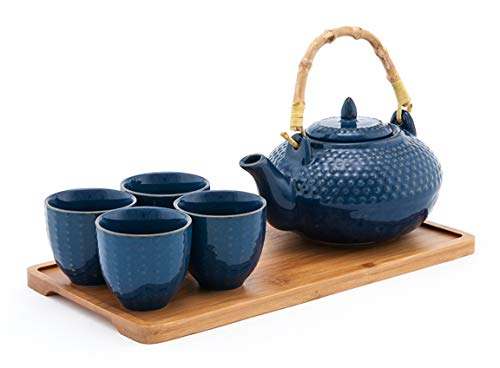(Happy Sales HSTS-CARBLU4, Tea Set with 26 oz Teapot, Four Cups and Bamboo Tray, Blue)