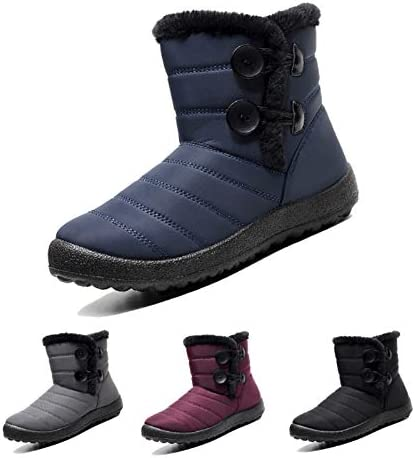 Solacozy Winter Boots for Women Waterproof Snow Boots Slip on Winter Shoes Fur Lined Winter Ankle Boots Comfy Short Snow Boots Anti-Slip Outdoor Flat Sneakers Botas De Nieve para Mujer