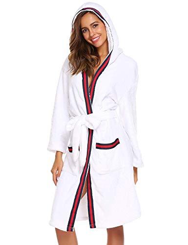 Para Albornoz Supersofter Cuello Alta De En Blanco Invierno Otoño Modernas Material Con Pijama Franela Mujer Más Casual V Bata Hecho Calidad Capucha Profundo tqqEwSCx