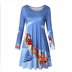YOKST Women's Elegant Christmas Dress Printed Vintage Long Sleeve Dress Cocktail Sexy Casual Irregular Swing Party Gown for Tourism Leisure Shopping (Color : Light blue, Size : XL)