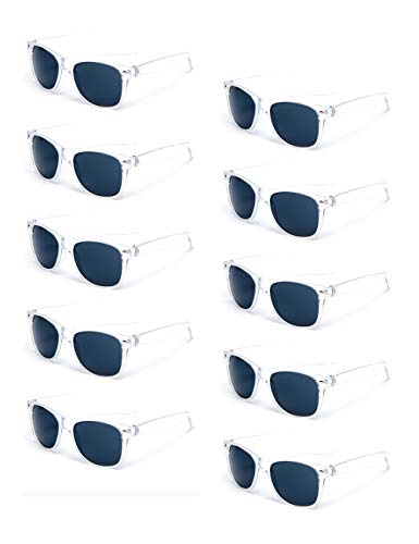 100% UV Protection Wholesale Multi PACK Unisex 80'S Retro Style Promotional Sunglasses (Transparent 10-Pack) -