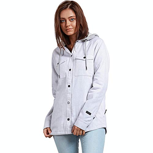 (Volcom Women's Hooded Yarn Dye Flannel Snow Jacket, Bone,)