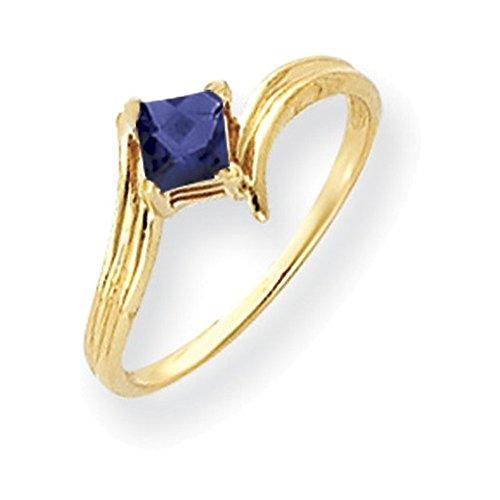 Jewelry Adviser Rings 14k 4mm Princess Cut Sapphire ring