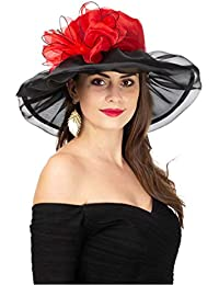 d1d972d200712 Women s Organza Church Kentucky Derby Fascinator Bridal Tea Party Wedding  Hat (New-Red Black