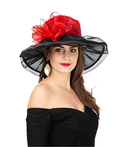 (SAFERIN Women's Organza Church Kentucky Derby Fascinator Bridal Tea Party Wedding Hat (New-Red Black Bow))