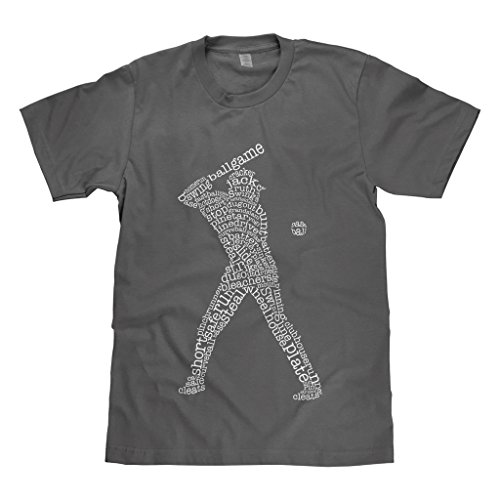 Mixtbrand Big Boys' Baseball Player Typography Youth T-Shirt XL Charcoal ()