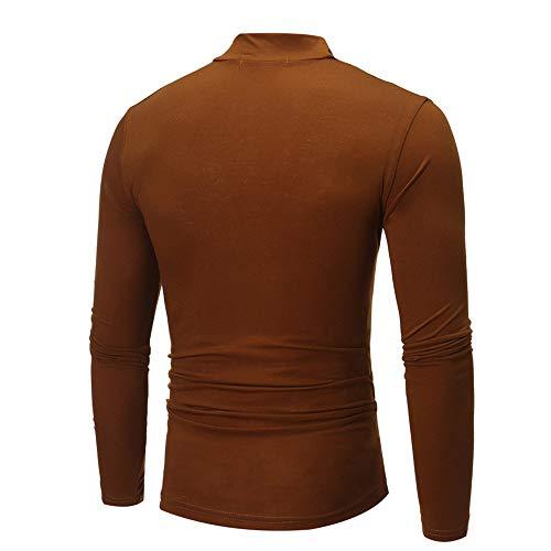 shirt Jumper T Tops À Manches Pour Longues Roulé Homme Ujunaor Col Café Et Atgqxnw