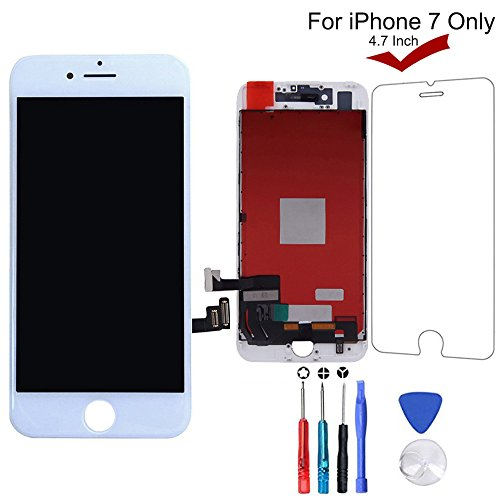 iPhone 7 Screen Replacement (White), LCD Screen Digitizer Display Frame Assembly Kit with 3D Touch & Repair Tools + Glass Screen Protector, iPhone 7 4.7 Inch Only from QIANZEY666