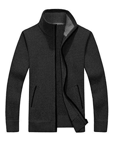 COOFANDY Mens Full Zip Up Sweaters Lightweight Casual Slim Fit Cardigan with Pockets (M, Classic Grey) (Mens Business Casual Cardigan)