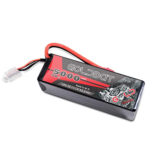 (GOLDBAT 11.1V 5000mAh 3S 50C Lipo RC Battery Pack Hard Case with Deans T Connector for Traxxas E-maxx Axial RC Car Truck Buggy Truggy)