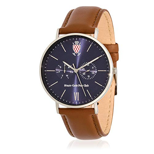 Carlo Leather Monte Watch (Monte-Carlo Polo Club Mens Classic Multifunction Watch with Dark Blue Dial and Brown Leather Strap)