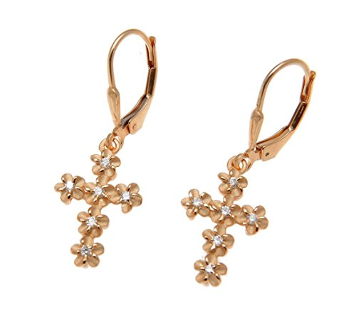 Rose gold plated 925 sterling silver Hawaiian plumeria flower cz cross leverback earrings - Leverback Cross