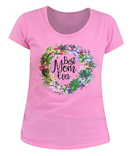 UB Women's Best Mom Ever Mother's Day Shirt (XXL, Pink)