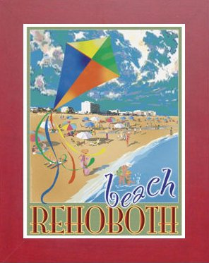 Amazon com : Rehoboth Beach Kite- Framed, Art-Deco Style
