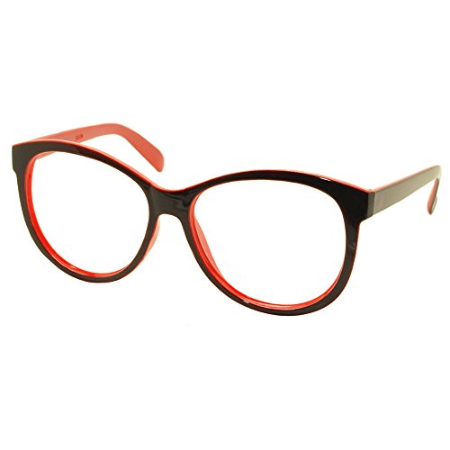 FancyG® Vintage Fashion Style Oversized Oval Round Glasses Frame Unisex Eyewear No Lens - Black (Cool Nerdy Halloween Costumes)