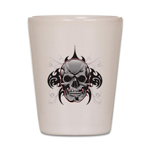 Shot Glass White of Tribal Skull -