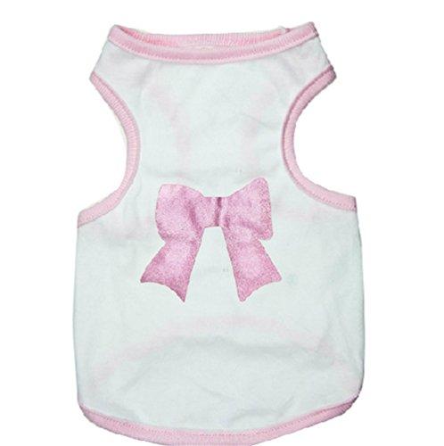 Scheppend White Bowknot Pink Hem Cotton Dog Sleeveless T-shirt Vest Pet Dog Clothes,S