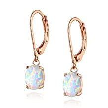 18K Rose Gold Plated Opal Leverback Earrings Hypoallergenic Oval Birthstone Gemstone Jewelry Gifts for Woman Girls