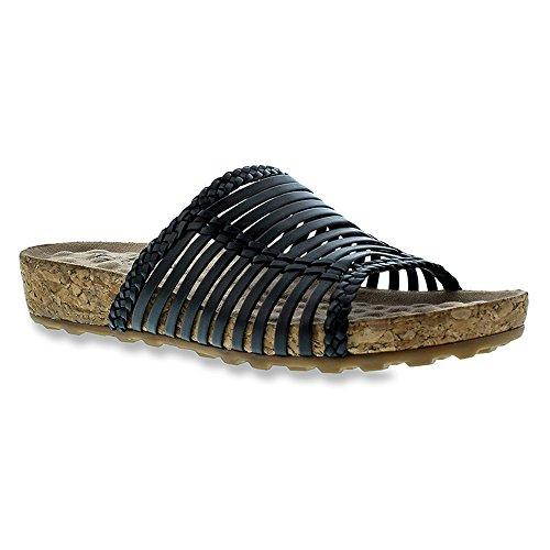 Walking Cradles Stuk Dames Open Teen Leer Slides Sandaal Zwart