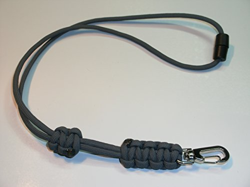 (RedVex Paracord Cobra Neck Lanyard with Safety Break-Away and Adjuster - Metal Clip - Choose your color and size-Gray)
