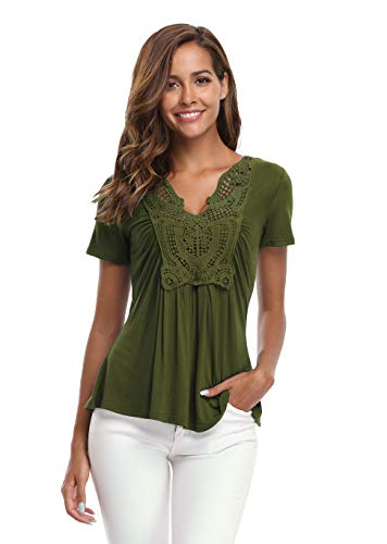 (MISS MOLY Short Sleeve Shirts for Women Deep V-Neck Ruched Front Pleated Tops-Army Green L)