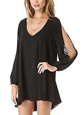 Voinnia Womens Casual Loose Chiffon V Neck A Line Dress