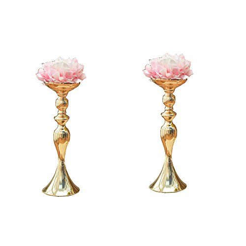 LANLONG 2pcs Gold Metal Candle Holders 50cm/20'' Stand Flowers Vase Candlestick As Road Lead Candelabra Centre Pieces Wedding Decoration (Gold, 14.9