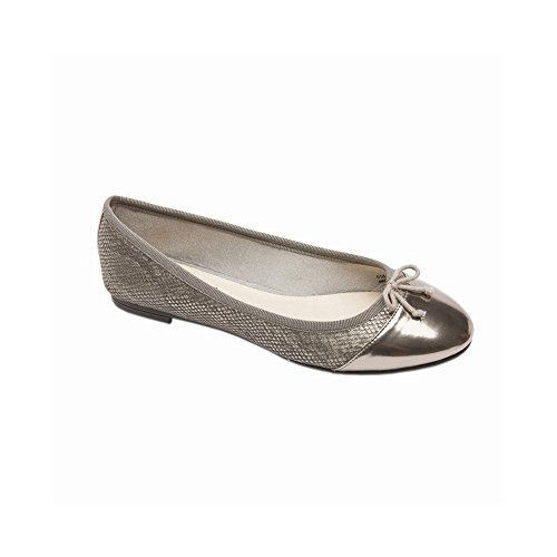 PIC/PAY Anita Women's Flats - Lizard Skin Rounded Toe Ballet Flat Pewter Snake PU 8.5M