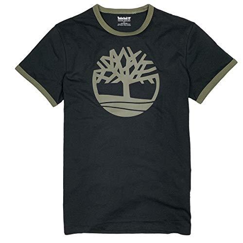 Timberland Men's Short Sleeve Tree Logo Ringer T-Shirt (Black, Large)