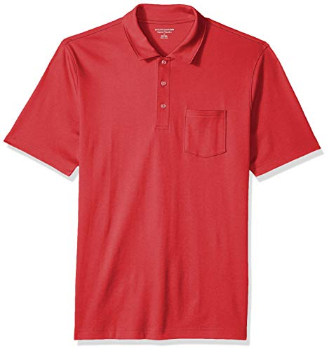 Amazon Essentials Men's Regular-Fit Pocket Jersey Polo, Red, X-Large