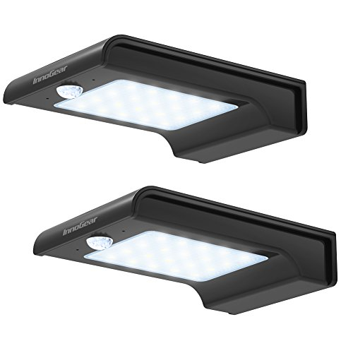 InnoGear 20 LED Solar Lights Motion Sensor Outdoor Light Waterproof Auto Security Night Detector Lighting for Gutter Fence Yard (Black)