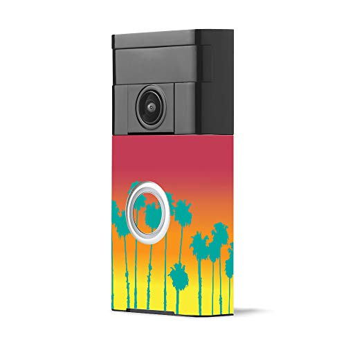 MightySkins Skin for Ring Video Doorbell - Sherbet Palms | Protective, Durable, and Unique Vinyl Decal wrap Cover | Easy to Apply, Remove, and Change Styles | Made in The USA