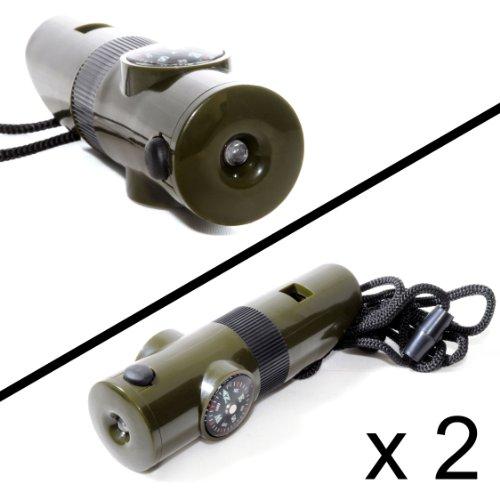 2er SET Multifunktions-Signalpfeife (6 in 1) mit Thermometer, Kompass, LED-Licht, Vergrößerungslinse und Spiegel (Reflektor) für Outdoor / Survival - Marke Ganzoo