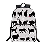 Cat Fashionable Backpack - Black Cat Silhouettes in Different Poses Domestic Pets Kitty Paws Tail and Whiskers Decorative for Boys - 11.8