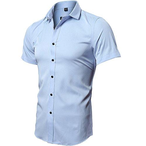 Camiseta Elástica de Hombre, Manga Corta, Slim Fit, Camiseta Bambú Fibra Casual/Formal para Hombre