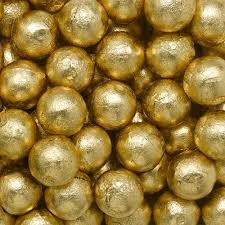 Individually Wrapped Foil Covered Chocolate Caramel Balls in a Variety of Colors - Bulk Wholesale (Gold, 2 Pounds)
