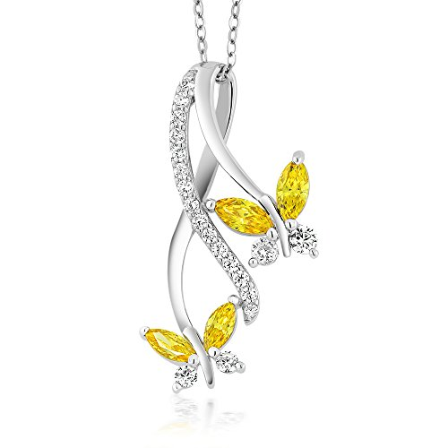 - Yellow Marquise 925 Silver Butterfly Pendant Made With Swarovski Zirconia
