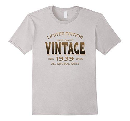Men's Vintage 1939 T-shirt 78th Birthday Gift 78 Year Old B-day Yr Medium Silver