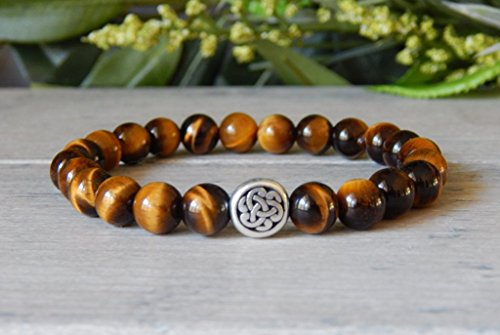 Beaded Bracelet Irish (Celtic Knot Irish Welsch Mens Golden Tiger Eye Beaded Classy Gemstone Bracelet)