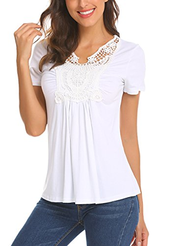 (Locryz Women's Summer Casual T Shirts Ruched Front Short Sleeve Blouse Solid Cute Tops (White,XL))