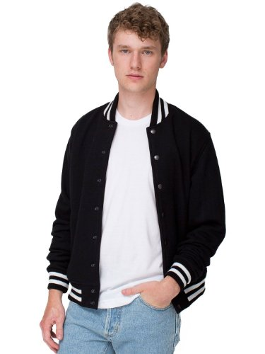 American Apparel Men's Heavy Terry Club Jacket, Black, (Mens Club Jacket)