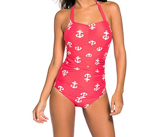 YFFaye Women's Vintage Inspired 1950s Style Red Anchor Teddy Swimsuit (Quirky Fancy Dress Ideas)