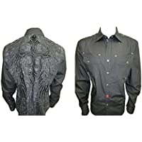 Men's House of Lords Cross Western Long Sleeve Button Down Shirt 54 Black