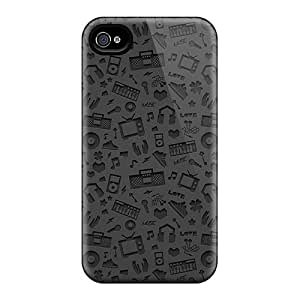 For Iphone Case, High Quality Multimedia Symbols Pattern For Iphone 4/4s Cover Cases
