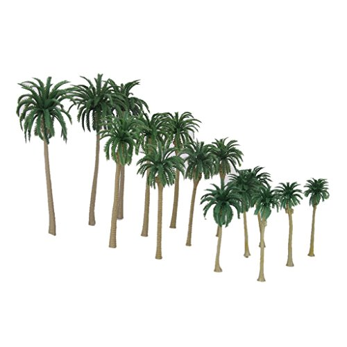 ButyYI 15 Pieces Coconut Palm Trees Model 1:70-1:150 Scale Fit for Decorating Tropical Rainforest Environments Decoration ()
