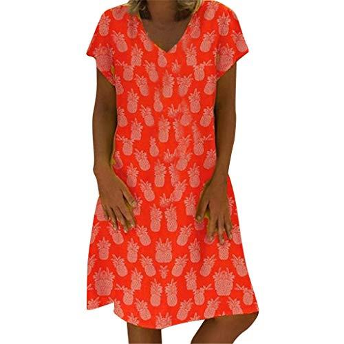 (Answerl 2019 Summer Casual Women's Shirt Dress Pineapple Fruit Print Short Sleeve V-Neck Dress Skirt Red)