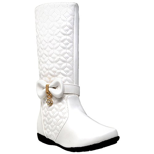 Generation Y Kids Boots Knee High Girls Quilted Leather Bow Accent Zip Close Riding Shoes White SZ 1 -