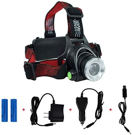 OSAGE RIVER Fishing Headlamp, Night Fishing Light, Rechargeable and Water Resistant